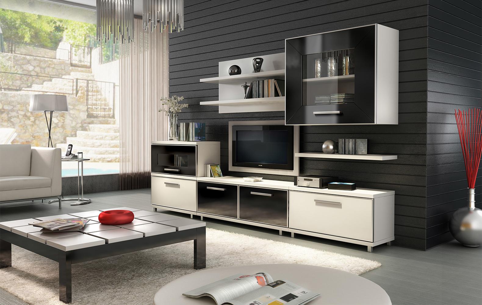 salon 3d blanco negro