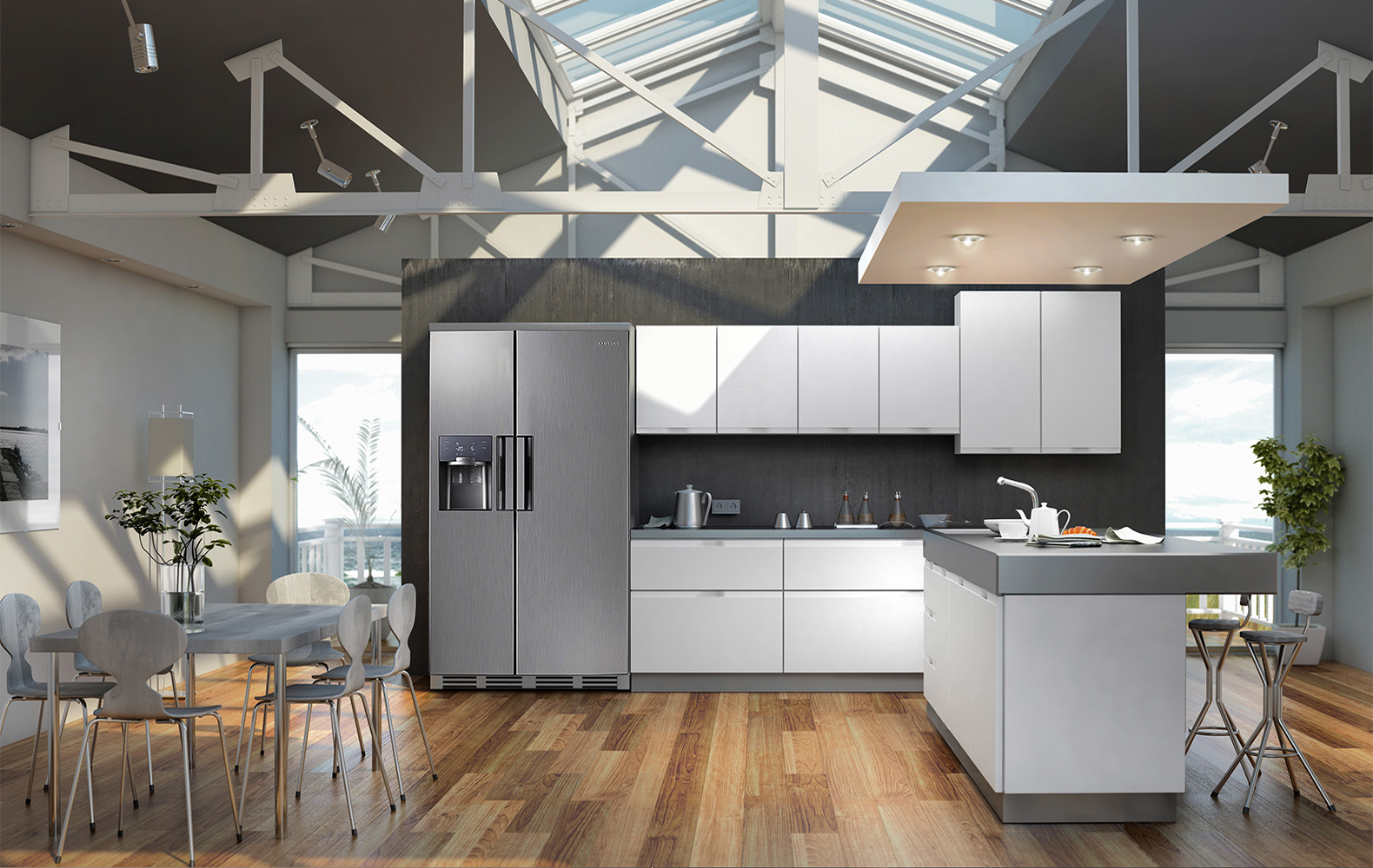 cocina 3d gris blanco