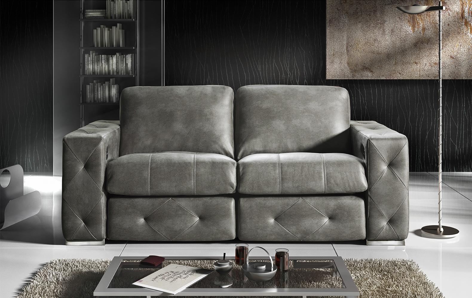 sofa 3 plazas piel integración 3d