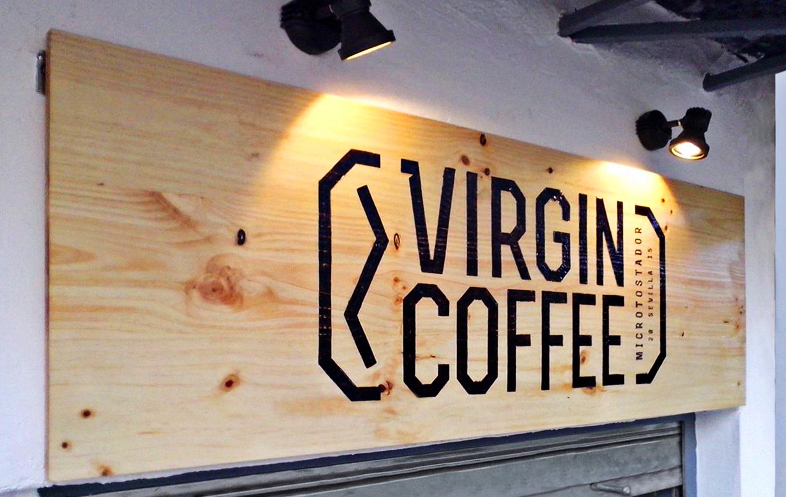virgin coffee sevilla letrero puerta
